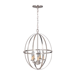 Hardwired Pendant Series 4-Lights Brushed Nickel Mini Chandelier with Circular Cage Shade PBCW-1230 - Worth Home Products