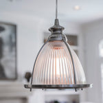 Load image into Gallery viewer, Instant Pendant Light with Ribbed Halophane Glass Shade - Worth Home Products