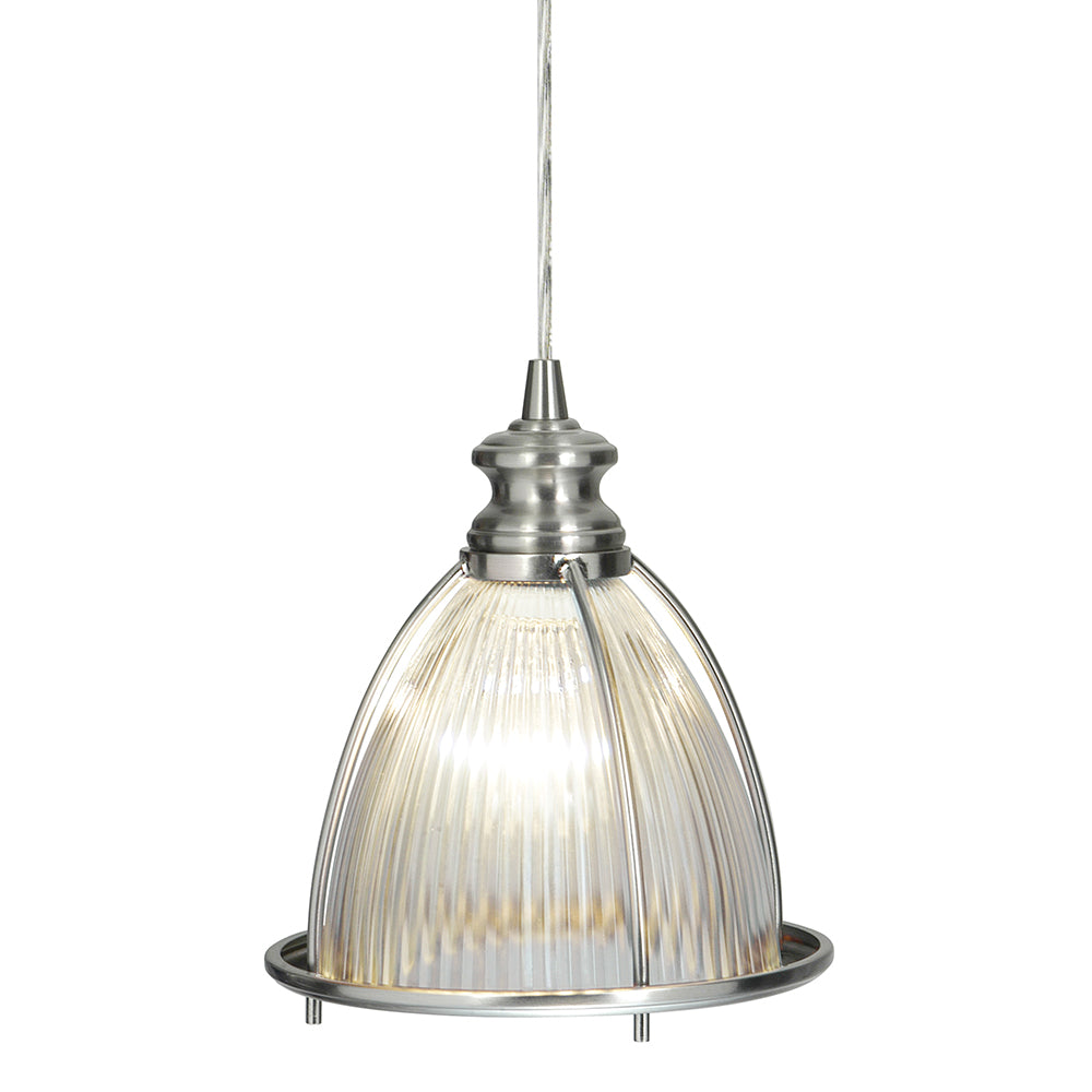 Instant Pendant Light with Ribbed Halophane Glass Shade - Worth Home Products
