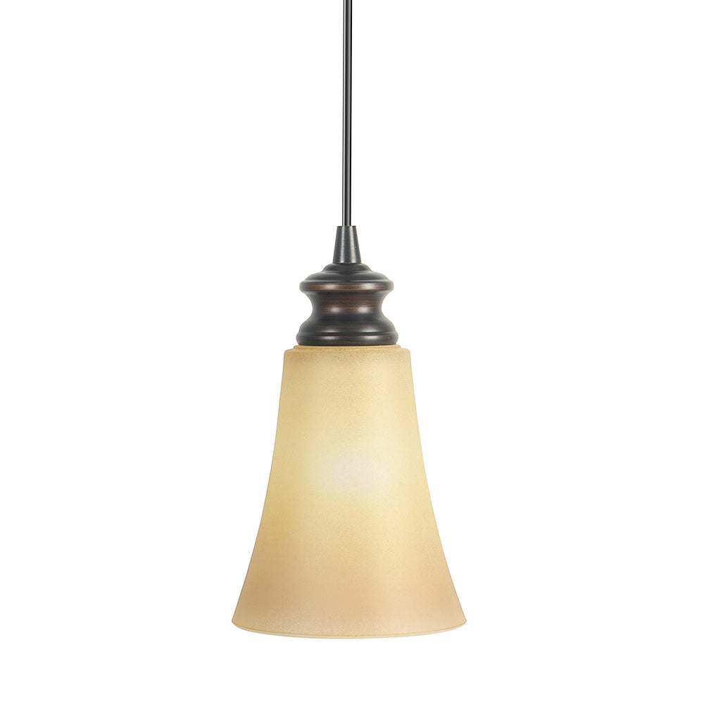 Instant Pendant Light with Amber Suede Fluted Cone Light Shade - Worth Home Products
