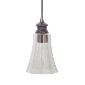 Instant Pendant Light with Clear Fluted Cone Glass Shade - Worth Home Products