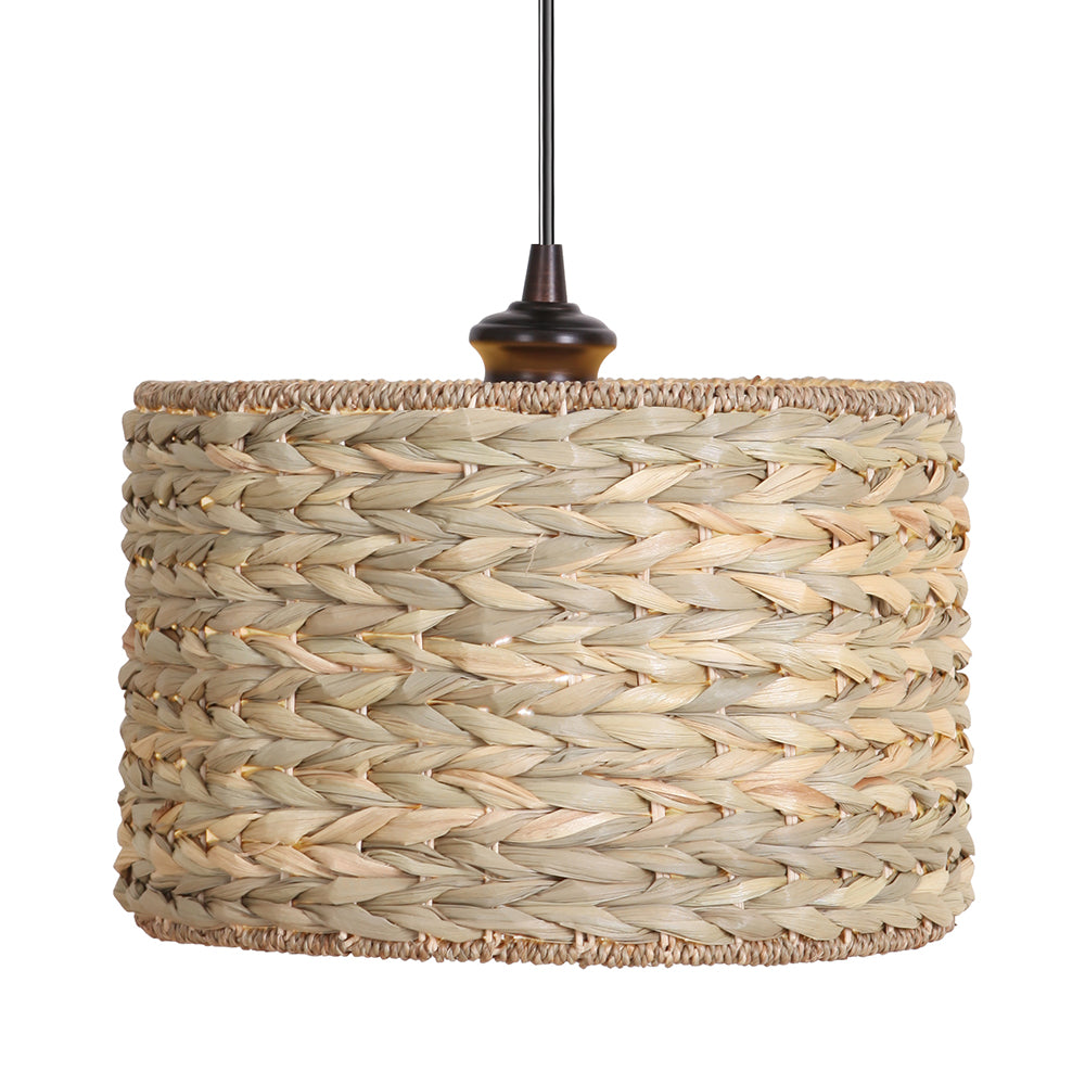 Instant Pendant Recessed Light Conversion Kit Brushed Bronze Grass Weave Shade PBN-3631-0011 - Worth Home Products