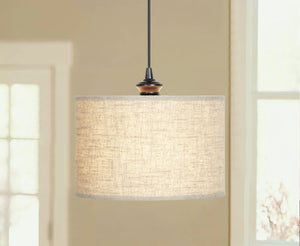 Instant Pendant Recessed Light Conversion Kit Brushed Bronze Linen Drum Shade PBN-3729-0011 - Worth Home Products