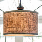 Load image into Gallery viewer, Instant Pendant Recessed Light Conversion Kit Brushed Bronze Linen Drum Shade PBN-3729-0011 - Worth Home Products
