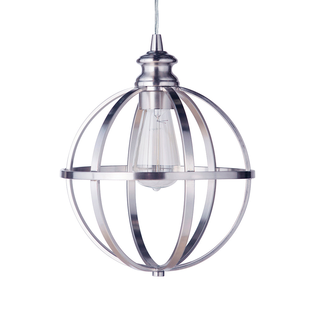 Instant Pendant Light with Brushed Nickel Cage Shade - Worth Home Products