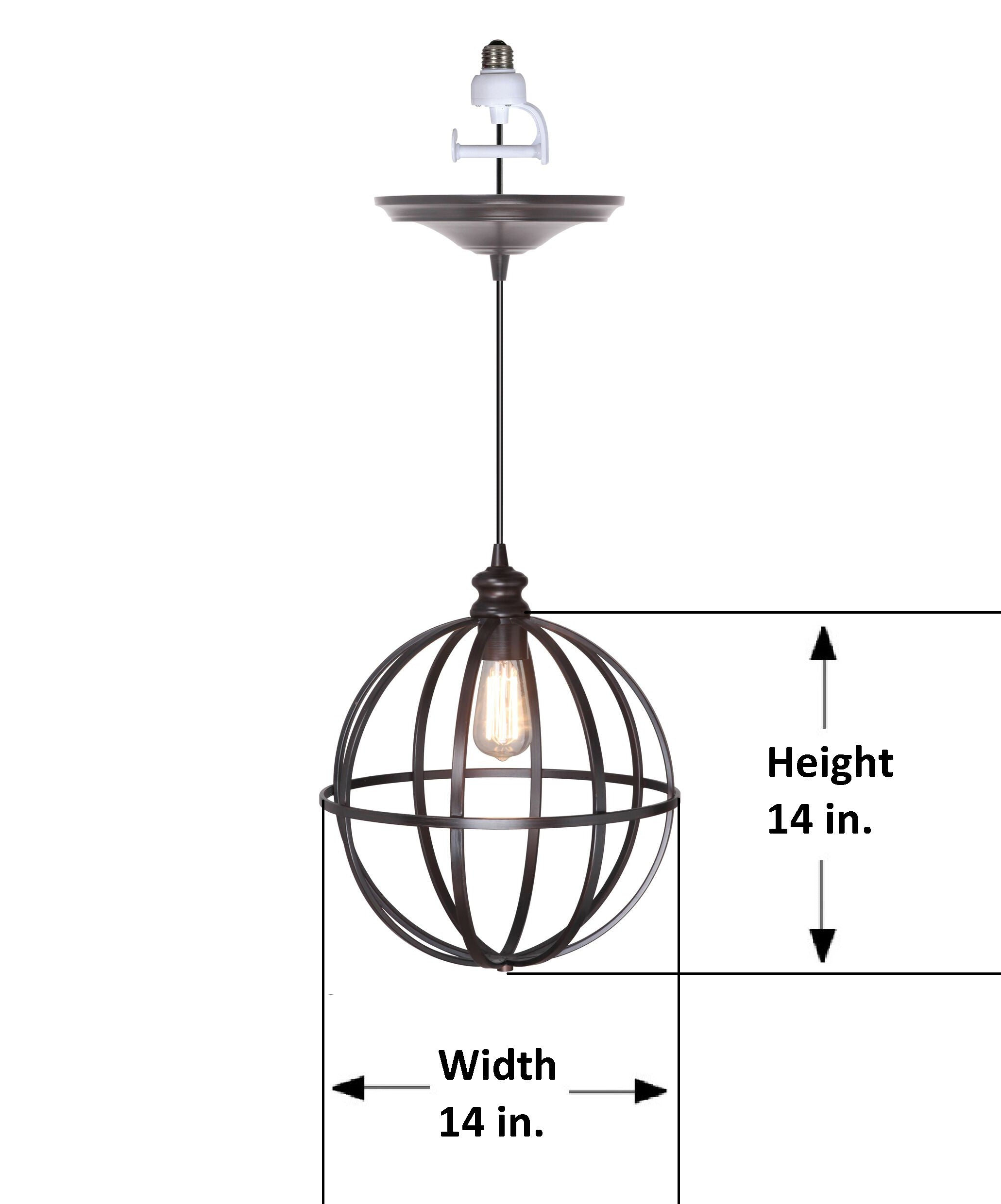"Instant Pendant Recessed Light Conversion Kit Brushed Bronze Large 14"" Cage Shade PBN-4834-0011 - Worth Home Products"