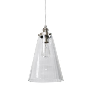 Instant Pendant Recessed Light Conversion Kit Brushed Nickel Large Clear Cone Glass Shade PBN-6001-0200 - Worth Home Products