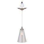 Load image into Gallery viewer, Instant Pendant Recessed Light Conversion Kit Brushed Nickel Large Clear Cone Glass Shade PBN-6001-0200 - Worth Home Products