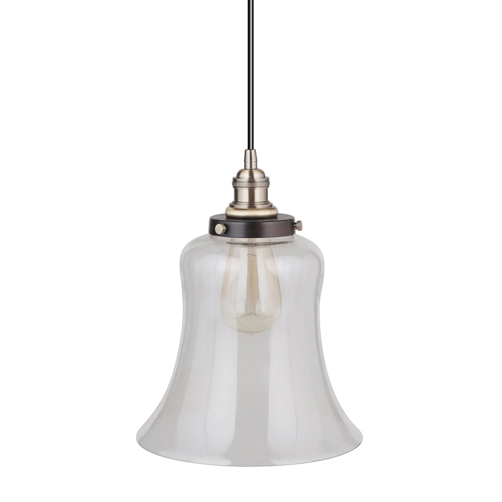 Instant Pendant Recessed Light Conversion Kit Brushed Bronze and Brass Large Clear Bell Glass Shade PBN-6002-8303-C - Worth Home Products
