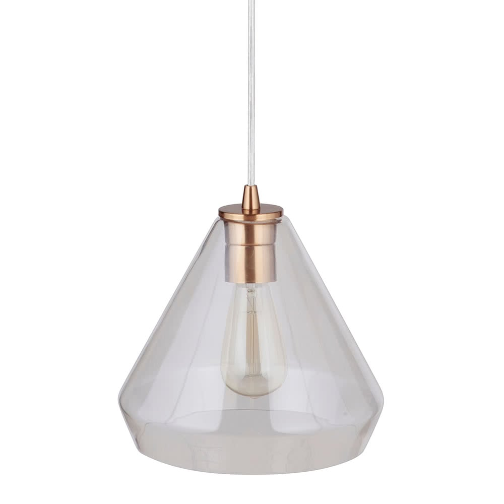 Instant Pendant Recessed Light Conversion Kit Brushed Brass Clear Glass Shade PBN-6003-0750 - Worth Home Products