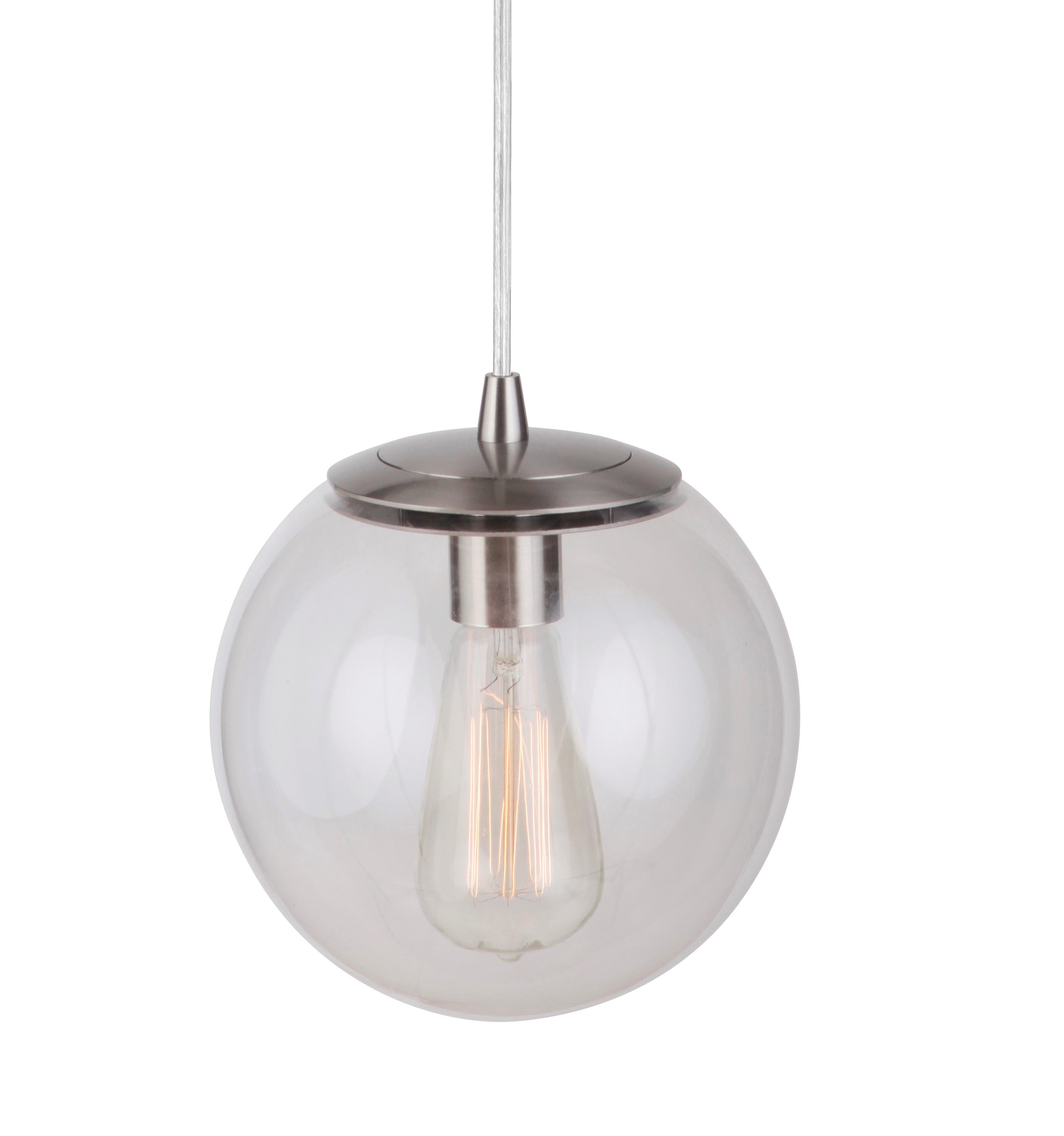 Instant Pendant Light Brushed Nickle Clear Globe Pbn 6010 0072 Worth Home Products