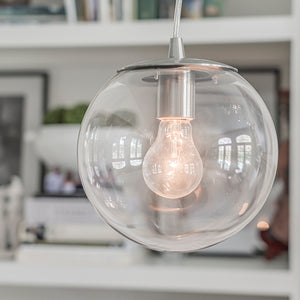 Instant Pendant Light Brushed Nickle Clear Globe PBN-6010-0072 - Worth Home Products