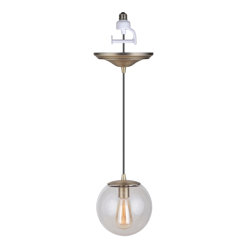 Instant Pendant Light Brushed Brass Clear Globe PBN-6010-0073 - Worth Home Products