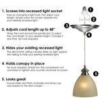 Load image into Gallery viewer, Instant Pendant Recessed Light Conversion Kit Brushed Nickel Glass PBN-6012 - Worth Home Products