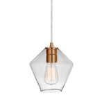 Load image into Gallery viewer, Instant Pendant Recessed Light Conversion Kit Brushed Brass Geometric Clear Glass Shade  PBN-6651-0750 - Worth Home Products