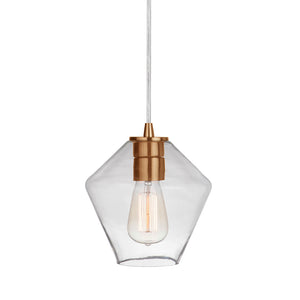 Instant Pendant Recessed Light Conversion Kit Brushed Brass Geometric Clear Glass Shade  PBN-6651-0750 - Worth Home Products