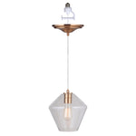 Load image into Gallery viewer, Instant Pendant Recessed Light Conversion Kit Brushed Brass Geometric Clear Glass Shade PBN-6750-0750 - Worth Home Products