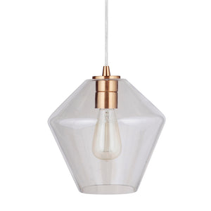 Instant Pendant Recessed Light Conversion Kit Brushed Brass Geometric Clear Glass Shade PBN-6750-0750 - Worth Home Products