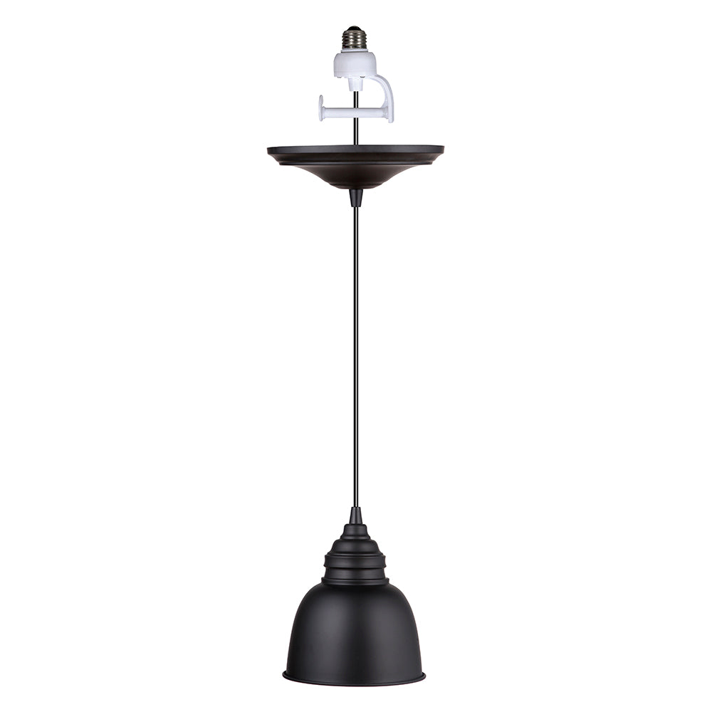 Instant Pendant Recessed Light Conversion Kit Matte Black with Metal Dome Shade PBN-7101 - Worth Home Products