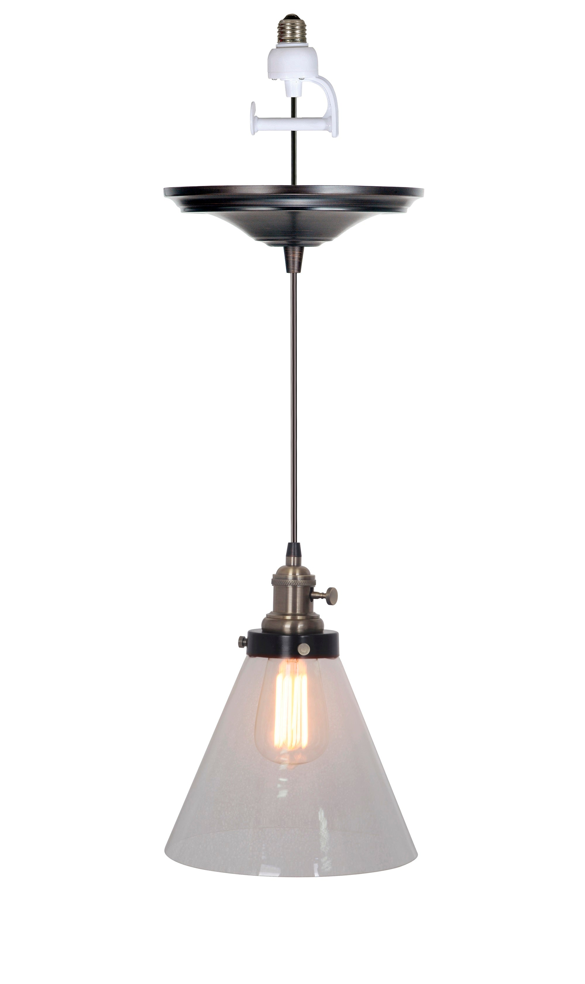 Last 1 - Instant Pendant Conversion Kit Brushed Bronze Brass Chic Cone Glass Shade PBN-7624-8550