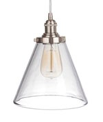 Load image into Gallery viewer, Instant Pendant Recessed Light Conversion Kit Brushed Nickel Clear Pyramid Glass Shade PBN-7630-9650 - Worth Home Products