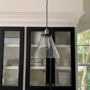 Instant Pendant Recessed Light Conversion Kit Brushed Brass and Bronze Clear Glass Small Cone Shade PBN-7635-9550 - Worth Home Products
