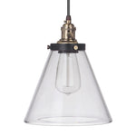Load image into Gallery viewer, Instant Pendant Recessed Light Conversion Kit Brushed Brass and Bronze Clear Glass Small Cone Shade PBN-7635-9550 - Worth Home Products