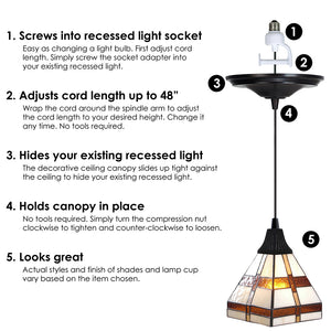 Instant Pendant Recessed Light Conversion Kit Antique Bronze Craftsman Style Shade PKN-2215 - Worth Home Products