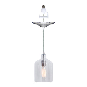Instant Pendant Recessed Light Conversion Kit Brushed Nickel Transitional Clear Bell Glass Shade PKN-3324 - Worth Home Products