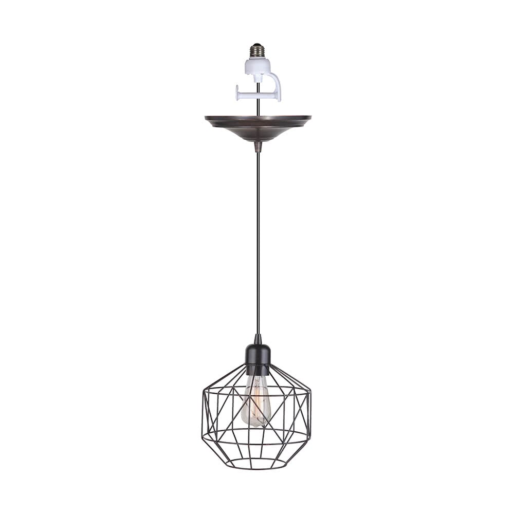 Instant Pendant Light Brushed Bronze Geometric Cage PKN-5005 - Worth Home Products