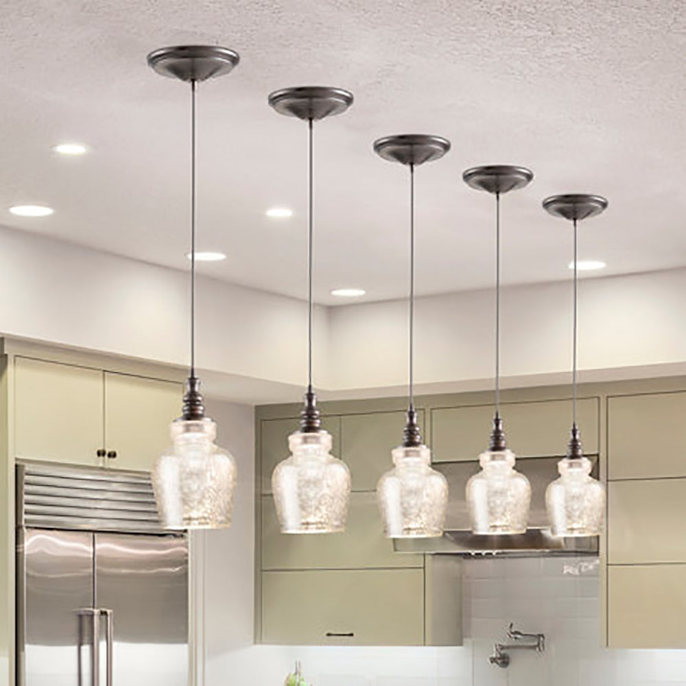 Instant Pendant Recessed Light Conversion Kit Brushed Bronze Mercury Glass Shade PKN-5572-0111 - Worth Home Products