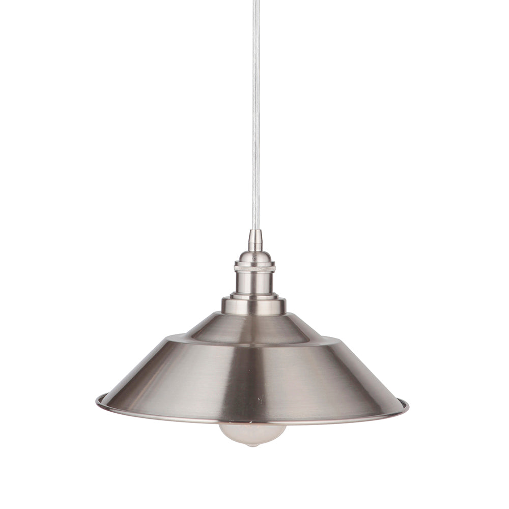 "Instant Pendant Recessed Light Conversion Kit Brushed Nickel 11"" Cone Metal Shade PKN-6004-8202 - Worth Home Products"