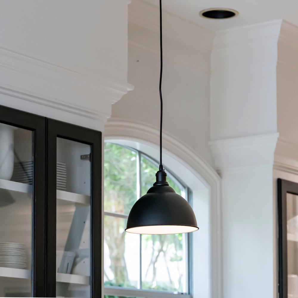 Instant Pendant Recessed Light Conversion Kit Matte Black with Dome Shade PKN-7363-8090 - Worth Home Products