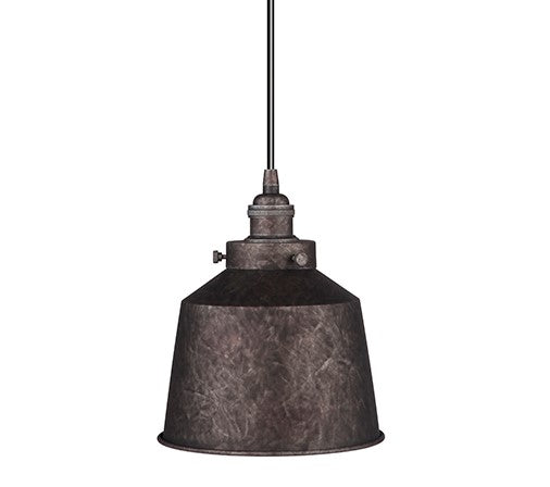 Instant Pendant Light Conversion Kit Rustic Iron Metal Small Dome Shade PKN-7604-8405-D - Worth Home Products