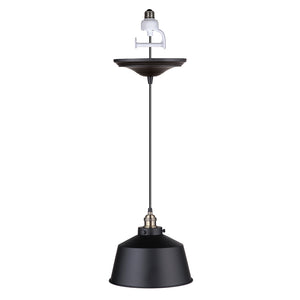 Instant Pendant Recessed Light Conversion Kit Brushed Bronze Industrial Metal Dome Shade PKN-7611-8304-F - Worth Home Products