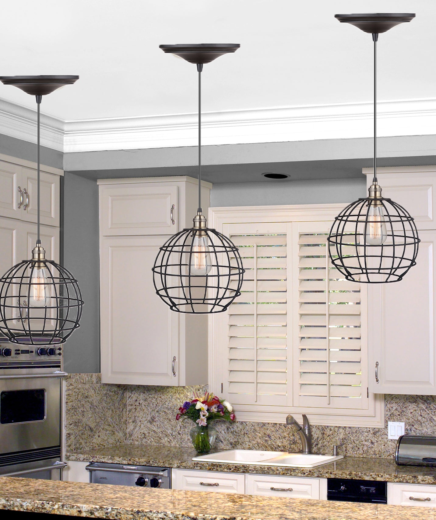 Instant Pendant Recessed Light Conversion Kit Brushed Bronze and Brass Globe Cage Shade PKN-9031-8303 - Worth Home Products
