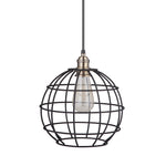 Load image into Gallery viewer, Instant Pendant Recessed Light Conversion Kit Brushed Bronze and Brass Globe Cage Shade PKN-9031-8303 - Worth Home Products