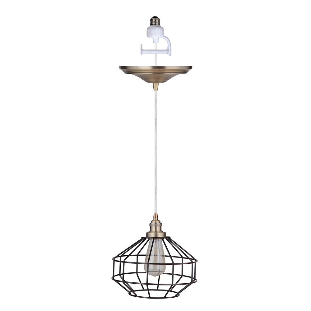Instant Pendant Recessed Light Conversion Kit Brushed Brass and Brushed Bronze Cage Shade PKN-9411-8303 - Worth Home Products