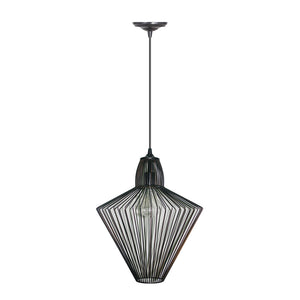 Hardwired Pendant Series 1-Light Brushed Bronze Pendant with Wire Cage Shade PKW-0511 - Worth Home Products