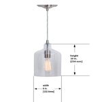Load image into Gallery viewer, Hardwired Pendant Series 1-Light Brushed Nickel Pendant with Glass Shade PKW-3324 - Worth Home Products