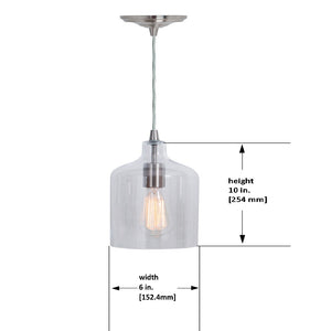 Hardwired Pendant Series 1-Light Brushed Nickel Pendant with Glass Shade PKW-3324 - Worth Home Products