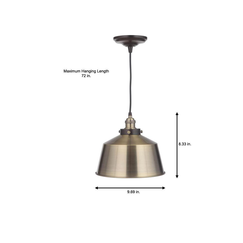Vintage Chic 1-Light Brushed Brass Pendant with Brushed Brass Lamp Socket - Worth Home Products