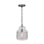 Load image into Gallery viewer, Hardwired Pendant Series 1-Light Brushed Bronze Pendant with Glass Shade with Mesh PKW-8424 - Worth Home Products