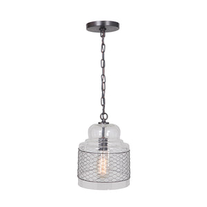 Hardwired Pendant Series 1-Light Brushed Bronze Pendant with Glass Shade with Mesh PKW-8424 - Worth Home Products