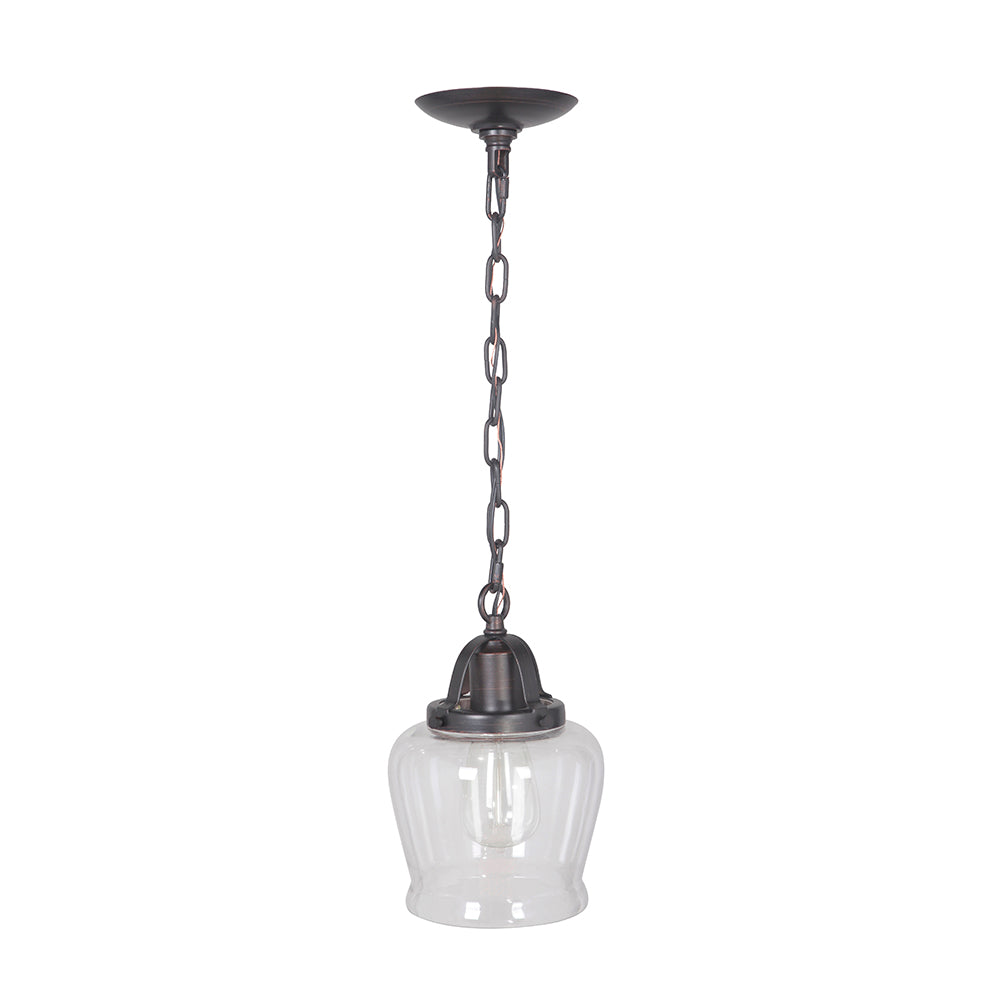 Hardwired Pendant Series 1-Light Brushed Bronze Pendant with Tulip Shaped Cage Shade - Worth Home Products