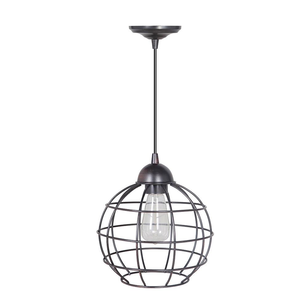 Hardwired Pendant Series 1-Light Brushed Bronze Pendant with Circular Cage Shade PKW-9011 - Worth Home Products
