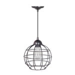 Load image into Gallery viewer, Hardwired Pendant Series 1-Light Brushed Bronze Pendant with Circular Cage Shade PKW-9011 - Worth Home Products