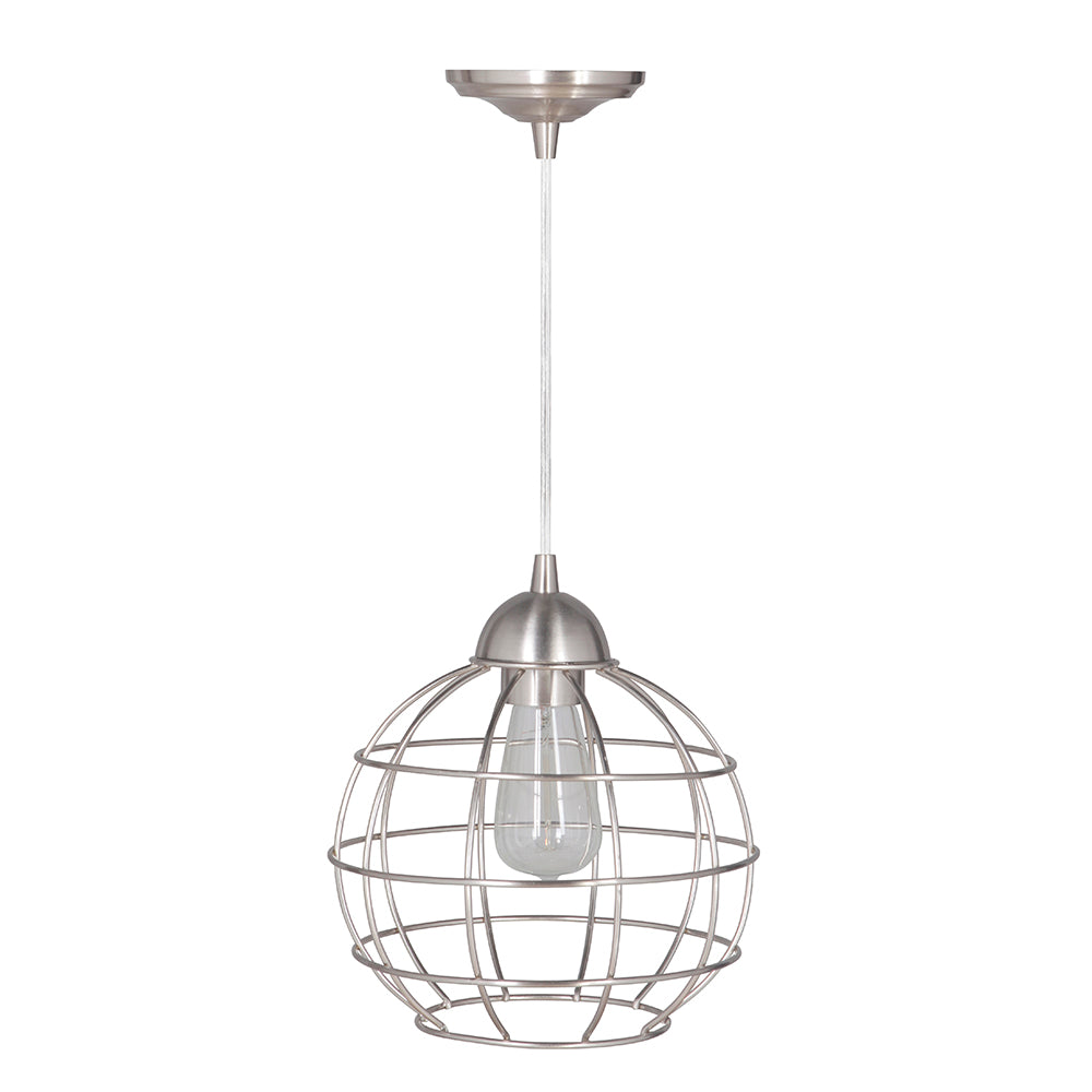 Hardwired Pendant Series 1-Light Polished Nickel Pendant with Circular Cage Shade PKW-9030 - Worth Home Products