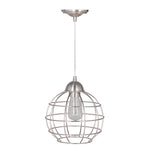Load image into Gallery viewer, Hardwired Pendant Series 1-Light Polished Nickel Pendant with Circular Cage Shade PKW-9030 - Worth Home Products
