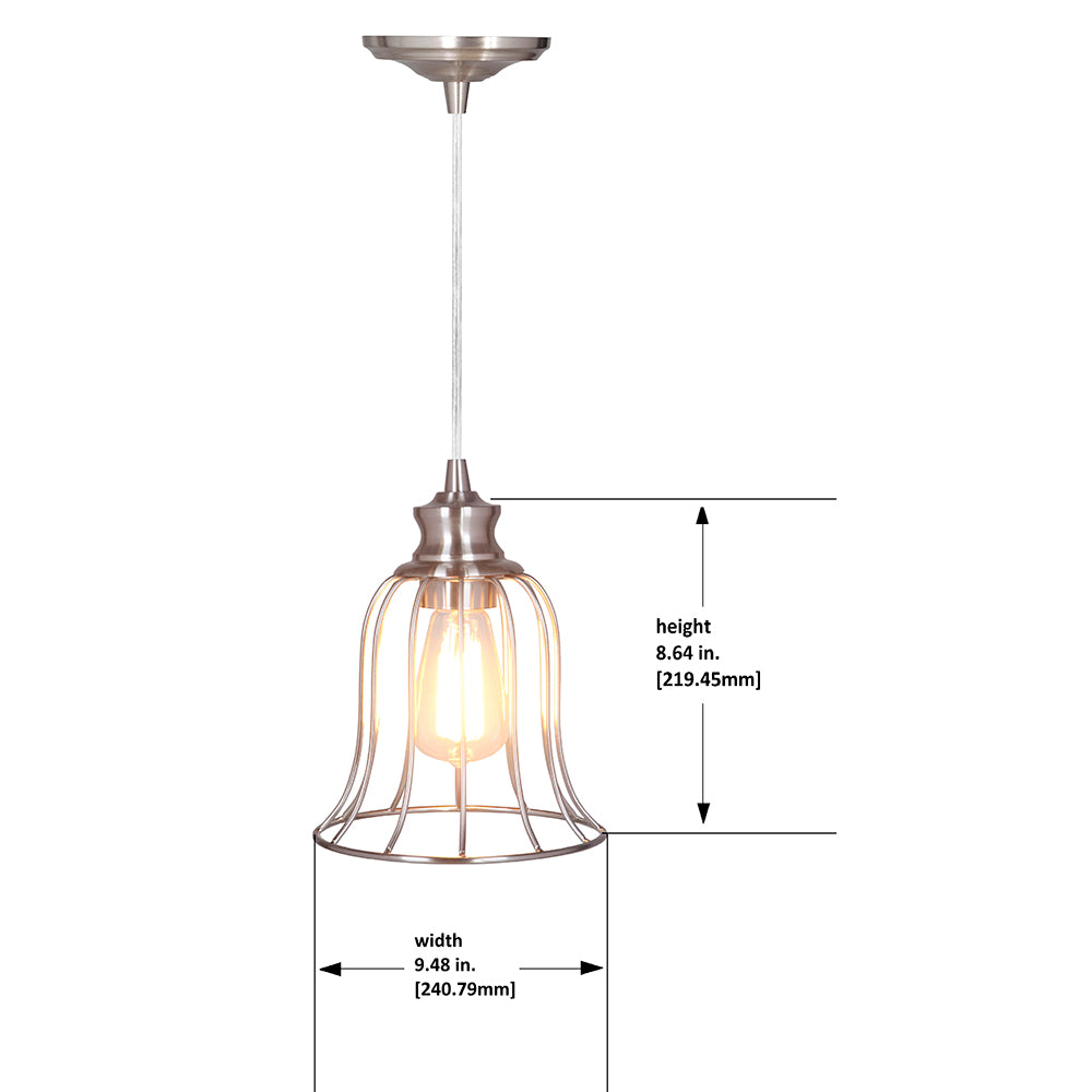 Hard Wired Series 1-Light polished Nickel Pendant with Metal Cage - Worth Home Products